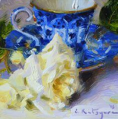 Синий Teacup и Желтая роза Елены Katsyura нефти ~ 6 х 6 в