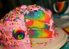 cake, colorful, rainbow