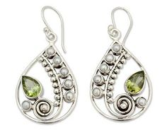 Pearl and Peridot Earrings Sterling Silver Jewelry - Inspired Paisley | NOVICA