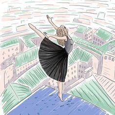 """Боги сжалились и дали один не смертельно жаркий день, чтобы я могла закончить работу над обложкой книги для  @svetik_poet_writer  Книга называется """"Балерина, танцующая на крыше"""". Начало истории уже можно прочитать у Светланы на странице @svetik_poet_writer под фото на желтом фоне  ✨  Это было и легко, и сложно, а самое главное - интересно🙃  Света, спасибо за такую возможность!   #illustration #ballerina #dancer #roof #book #digitalart"""