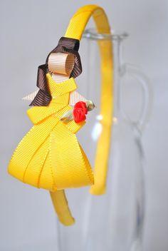 tiara da Bella - A Bela e a Fera esculturas feitas com fitas de gorgorão à mão.  **ARCO DE TAMANHO ÚNICO - 39CM DE PONTA A PONTA R$ 27,50