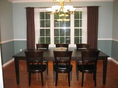 two tone dining room but with white curtains instead of brown