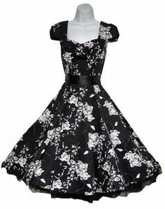 Black flower 50's dress from Kjoledamen in Norway.