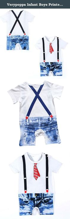 Verypoppa Infant Boys Printed Strap Tie Demin Cotton Funny Clothing Rompers (90 (4~8 M), White). Special design:fake two-pieces sets,looks like wearing a T-shirt with tie and a demin shorts with straps,left shoulder and buttom snaps, so fashion, energetic, and gentleman.unique pattern in the baby bodysuits. Size:80 0-4 M Tops Length:24.5cm Chest(half):25cm Waistline(half):25.8cm Shorts length:18.5cm Legs length:13.5cm Size:80 4-8 M Tops Length:25.5cm Chest(half):26cm…