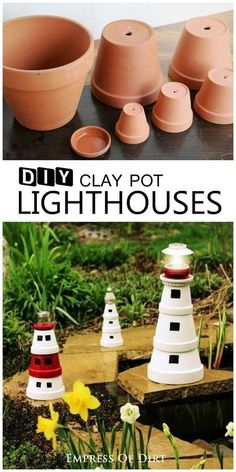 DIY-Clay-Pot-Lighthouse- Add a magical touch to your garden with this sweet garden art lighthouse made from clay pots. It's a great project to do with kids. Add a solar lamp to the top to shine brightly in the evening garden. Flower Pot Crafts, Clay Pot Crafts, Diy Clay, Flower Pots, Diy And Crafts, Flower Diy, Crafts To Make And Sell, Sell Diy, Cork Crafts