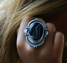 Dark Oracle - Tuxedo Agate Sterling Silver Ring