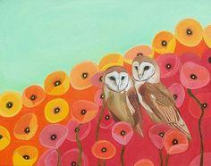 Owls in a Poppy Field Giclee Print Poppies Red Orange Seafoam Green Wall Art