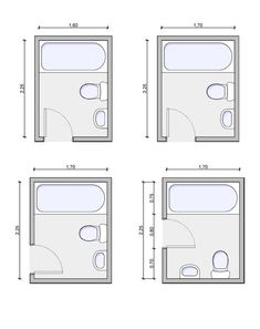 Very Small Bathroom Layouts | bathroom-layout-12 bottom left is the layout with door in right place.