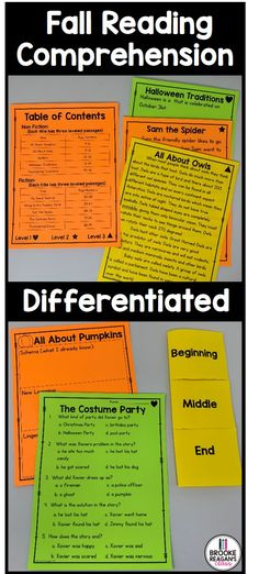 Differentiated fall reading passages. Three levels per reading passage to fit your special education or general education classroom. #readingcomprehension #fallreadingcomprehension #differentiatedreadingpassages