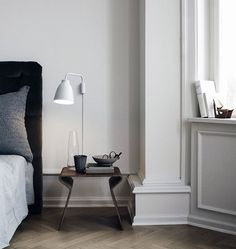 The Caravaggio wall lamp was designed by Cecilie Manz for Fritz Hansen.The Caravaggio wall lamp belongs to the collection of Danish design lighting from Fritz H Caravaggio, Home Living, Living Spaces, Living Room, Home Bedroom, Bedroom Decor, Calm Bedroom, Bedroom Ideas, Bedroom Table