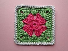 Plain edge 4 Petal Crochet Flower Square by Claire from CrochetLeaf.com