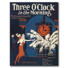 Three O'clock In The Morning Vintage Song Sheet Post Cards #Postcards #Song #Vintage #Gifts