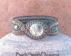 Turquoise Teal Silver Beaded Leather Wrap Cuff Bracelet - The Diamond Princess in Teal - Customize It!