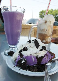 The Purple Cow - Hot Springs and Little Rock AR - old-fashioned burgers, sandwiches, and chili dogs, huge orders of french fries and onion rings, ice cream sodas, and of course, the shakes including the famous Purple Cow. Great family atmosphere with fast and friendly service.