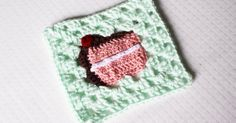 Sewrella: Crochet Slice of Birthday Cake Granny Square: Bake Shop Blanket Series