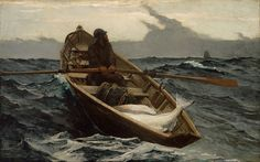 Artist Winslow Homer (1836–1910)  TitleThe Fog Warning / Halibut Fishing  Object typePainting Date1885 Mediumoil on canvas Dimensions76.83 × 123.19 cm (30.2 × 48.5 in) Current location Museum of Fine Arts, Boston  Accession number94.72