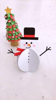 Christmas Art For Kids, Preschool Christmas Crafts, Christmas Card Crafts, Holiday Crafts, Hand Crafts For Kids, Winter Crafts For Kids, Paper Crafts Origami, Origami Snowman, Cotton
