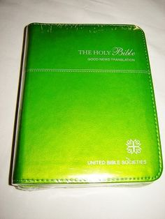 Good News Bible Catholic Edition / Green Leather Bound with Zipper, Gray Edges, 2010 Color Print /