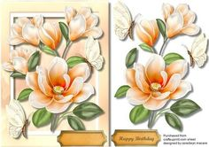 A5 Beautiful Apricot Magnolias and Butterflys  on Craftsuprint designed by Ceredwyn Macrae - A lovely card to make and give to anyone on there Birthday Beautiful Apricot Magnolias and Butterflys, a lovely card has one greeting tag and a blank one for your choice , - Now available for download!