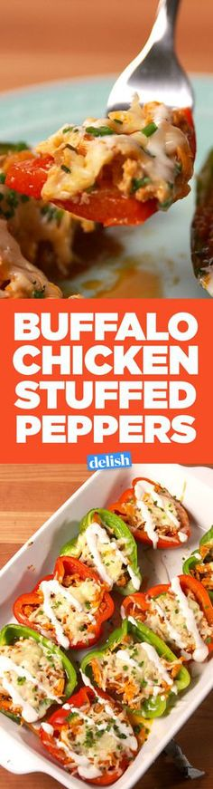 Buffalo Chicken Stuffed PeppersDelish