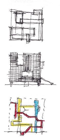 Galería de Escuela Internacional de Diseno y Comercio Lasalle College / MRV arquitectos + NOAH arquitectura - 27 Architecture Journal, Architecture Concept Diagram, Architecture Student, Architecture Drawings, Architecture Design, Lasalle College, Conceptual Sketches, Presentation Techniques, Design Process