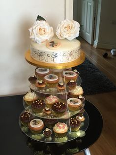Wedding cupcake tower. Homemade