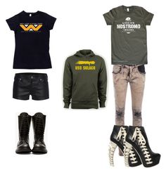 """""""random alien"""" by xenomorphs4life ❤ liked on Polyvore featuring True Religion, Rick Owens, HIGH and Dsquared2"""