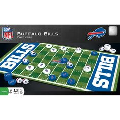 If you have a house full of Buffalo Bills fans, and family game night is coming up, this NFL Checkers Set is perfect for you. When team spirit meets friendly competition, anything can happen. Buffalo Bills fever will be at an all-time high with team color pieces and a football field playing surface. Add this to your team collection and get to playing. Dallas Cowboys Game, Detroit Lions Football, Football Field, Nfl Football, Checkers Board Game, Board Game Pieces, Buffalo Bills, Cowboy Games, Tailgate Games