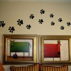 Paw Print Wall Decals - Would be cute by her water bowls or by her bed. <3