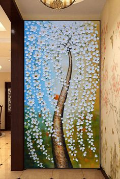Hand-painted white flower tree painting wall art by LisaHomeArts