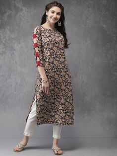 Anouk Women Black & Mustard Yellow Printed Straight Kurta - All About Pakistani Dresses Casual, Indian Fashion Dresses, Dress Indian Style, Pakistani Dress Design, Indian Designer Outfits, Designer Dresses, Simple Kurta Designs, New Kurti Designs, Kurta Designs Women