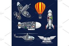 Air mechanics and mechanisms vector icons set Graphics Air mechanics vector aircrafts and mechanisms. Construction parts, engines or gears, gauges, and scr by Vector Tradition SM