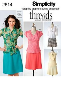 S2614 ** Simplicity Threads Womens Tops and Bias Skirt ** FABRICS: Laundered cottons, Pique, Poplin, Twill, Sateen, Eyelet, Crepe, Challis, Crepe Back Satin, Silk Linen, Laundered Silks-Rayons, Gauze, Double Georgette, Handkerchief Linen.