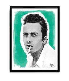 Lámina en tamaño A4 firmada a mano y numerada (tirada de 10 ejemplares) con ilustración original de Joe Strummer. Joe Strummer (The Clash) Limited digital print by Pedrita Parker. #pedritaparker #print #theclash #joestrummer #music #rock #illustration