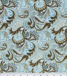 Keepsake Calico Fabric-Paisley Aqua