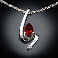 garnet necklace  Argentium silver  red  by VerbenaPlaceJewelry