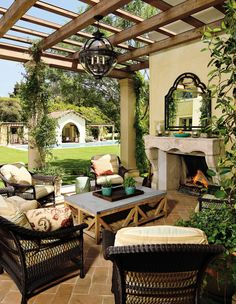 Outdoor fireplace, patio and pergola