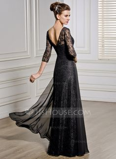 A-Line/Princess V-neck Floor-Length Chiffon Lace Mother of the Bride Dress With Beading Sequins (008057067) - JJsHouse