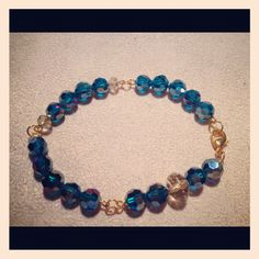 Large round Czech glass beads with gold plated accents.  Given to Judy as a gift.