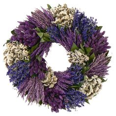 Adorned with preserved larkspur and white sinuata, this charming wreath is a welcoming accent on an entryway wall or displayed above your mantel.