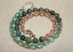 Crochet Wrap Bracelet African Jade Aqua Czech by OHineKnotwork