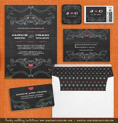 Chalkboard Wedding Invitation Set   A Free Printable Photobooth Poster