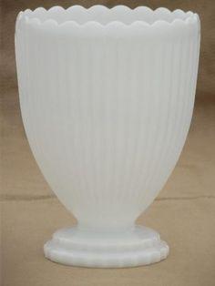 vintage milk glass vases lot, 12 classical urns & fluted shape planters