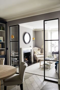Sims Hilditch Parsons Green Townhouse Contemporary Sitting Room with crittal doo… - Aufenthaltsraum House Design, New Homes, Home And Living, House Interior, Home, Interior Design Living Room, Interior, Home Decor, Living Design