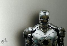 Iron Man 3D art, hyperrealistic drawing by Marcello Barenghi