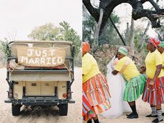 South African Destination Elopement from Feather and Stone Photography. Just Married Sign, Yellow Daisies, African Weddings, My Dream, Daisy, Dream Wedding, Feather, Parties, Romantic