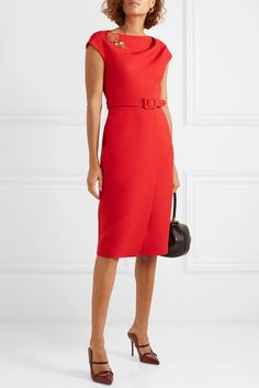Oscar de la Renta Belted Embellished Wool And Silk-blend Cady Midi Dress - Red Mom Dress, Dress Skirt, Sheath Dress, Dress Red, Dress Outfits, Casual Outfits, Fashion Dresses, Office Fashion, Work Fashion