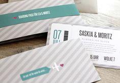 Hochzeitseinladung »Flugticket« mint Hochzeitsk...
