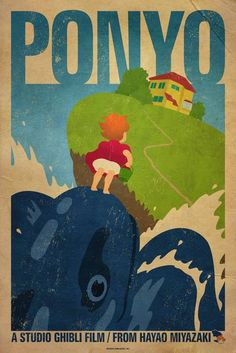 """Ponyo"" by James Bacon: Poster for Hayao Miyazaki film, Ponyo. // Buy prints, posters, canvas and framed wall art directly from thousands of independent working artists at Imagekind.com."
