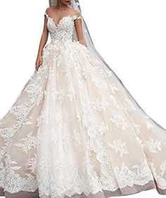 Weddinglee Bridal Wedding Dress White Wedding Dresses for Bride 2017 Gorgeous Lace Wedding Dresses Cap Sleeves Ball Gown *** Check out the image by visiting the link.